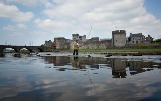 11/7/13 Kieran Goodisson, Old Cratloe Road, Limerick fishing on the Shannon river in from tot the newly opened King Johns Castle.  Pic Sean Curtin.